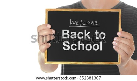 welcome back to school in blackboard - stock photo