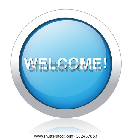 Welcome button blue - stock photo