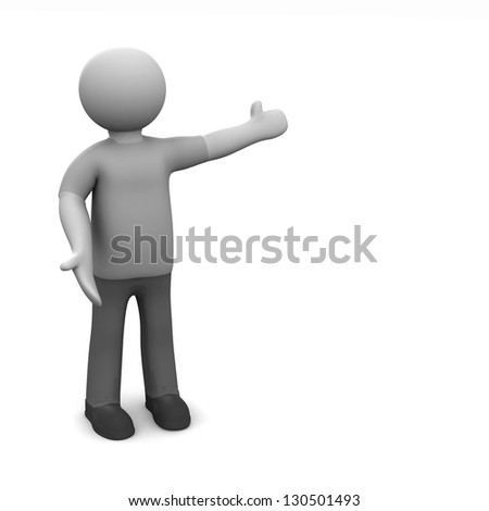 Welcome. 3d man  welcoming with open arms on white background. The space for your text or image - stock photo