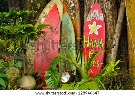 Welcome Display On The Road To Hana, Hawaii - stock photo