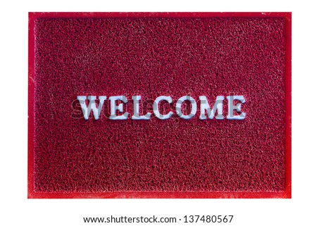 welcome doormat carpet isolated on white - stock photo