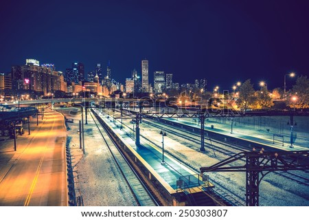 Welcome in Chicago. Late Night Chicago Skyline and the Railroads. Chicago, Illinois, United States. - stock photo