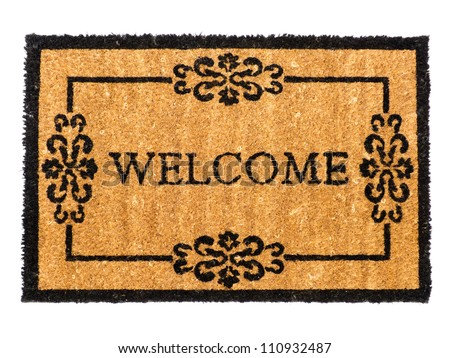 Welcome mat isolated on white - stock photo