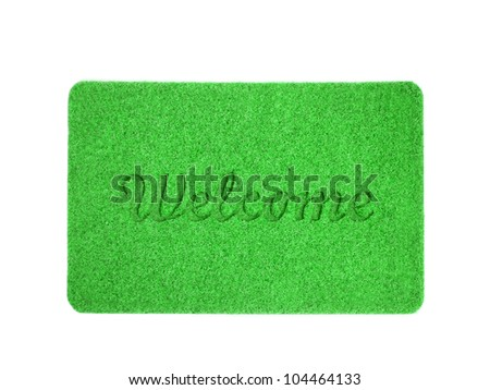Welcome mat isolated over white - stock photo