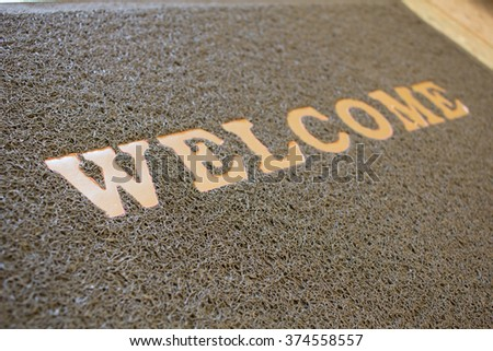 Welcome mat matted background & textured : Your text design & copy space - stock photo