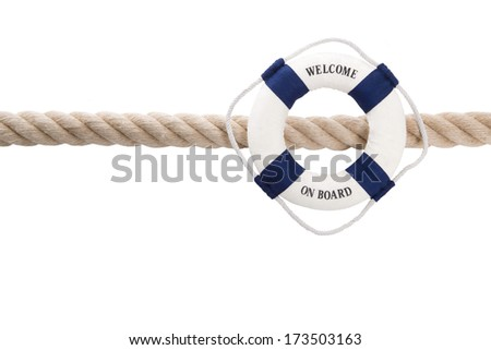 Welcome on board - isolated lifebelt for teamwork, holiday or travel concept  - stock photo