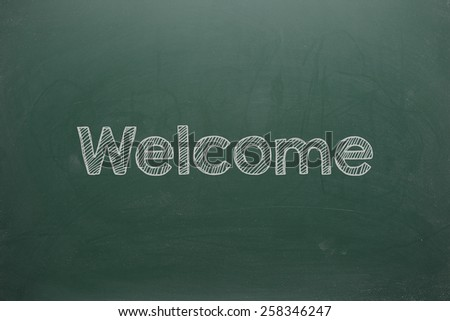 Welcome on Green Board - stock photo
