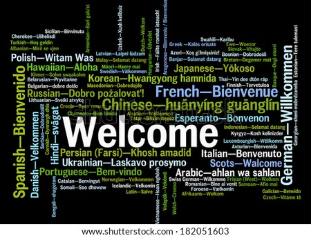 Welcome phrase in different languages. Words cloud concept - stock photo
