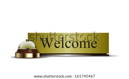 Welcome Sign and Call Bell - stock photo