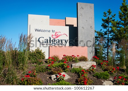 Welcome sign at the entrance to the Calgary - stock photo