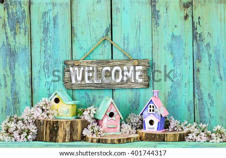 Welcome sign hanging over colorful birdhouses on cedar logs by spring tree blossoms on antique rustic mint green wood background; pink, yellow, purple, green birdhouses  - stock photo