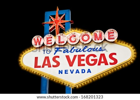 Welcome Sign Las Vegas isolated on black - stock photo