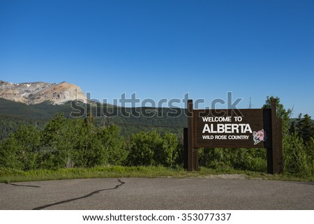 Welcome to Alberta in the mountains and foothills of Waterton National Park Canada - stock photo