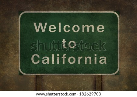 Welcome to California highway road side sign - stock photo