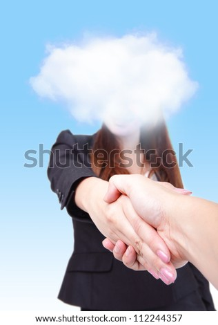 welcome to Cloud computing future world, Business woman with cloud gives a handshake to you - stock photo