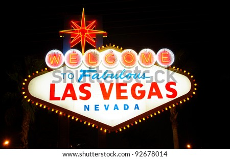 Welcome to Fabulous Las Vegas, Nevada (USA), at night - stock photo