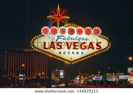 Welcome to Fabulous Las Vegas sign at night in Nevada, USA - stock photo