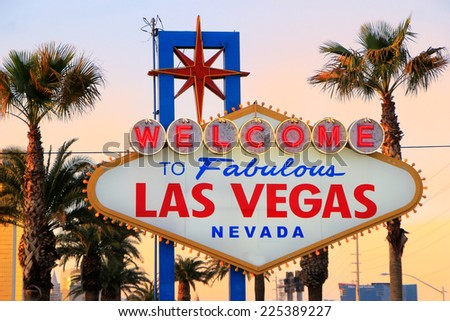 Welcome to Fabulous Las Vegas sign at night, Nevada, USA - stock photo