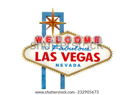 Welcome to Fabulous Las Vegas sign isolated on white - stock photo