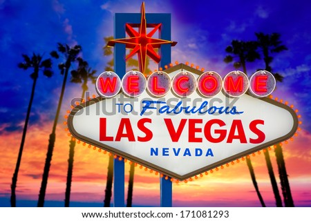 Welcome to Fabulous Las Vegas sign sunset with palm trees Nevada photo mount  [ photo-illustration]  - stock photo