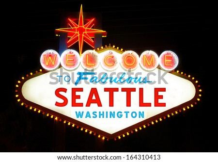Welcome to Fabulous Seattle - stock photo