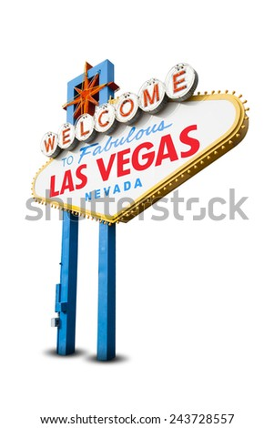 Welcome to Las Vegas Neon Light Sign. With Clipping Path - stock photo