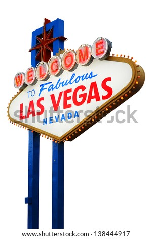 Welcome To Las Vegas neon sign on white background.  Nevada, USA - stock photo