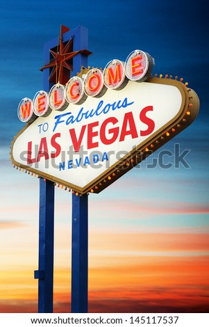 Welcome To Las Vegas Sign at night - stock photo