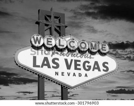 Welcome to Las Vegas sign in black and white. - stock photo