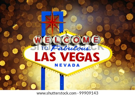 Welcome to Las Vegas Sign with golden bokeh of light in the background - stock photo