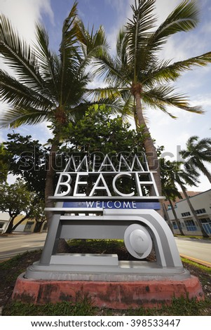 Welcome to Miami Beach road sign - stock photo