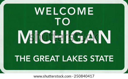 Welcome to Michigan USA Road Sign - stock photo