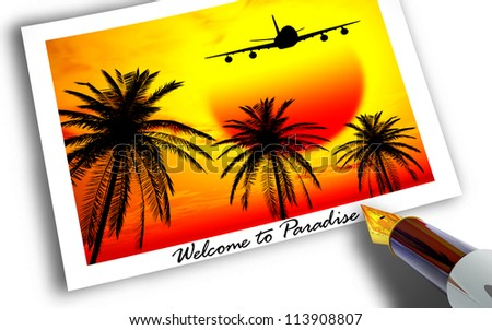 Welcome to Paradise - stock photo