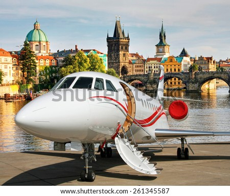 Welcome to Prague. Jet for the VIP flights. - stock photo