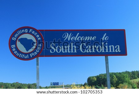 Welcome to South Carolina Sign - stock photo