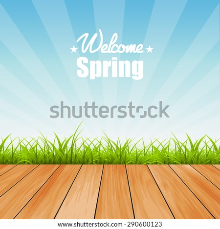 Welcome to Spring background illustration - stock photo