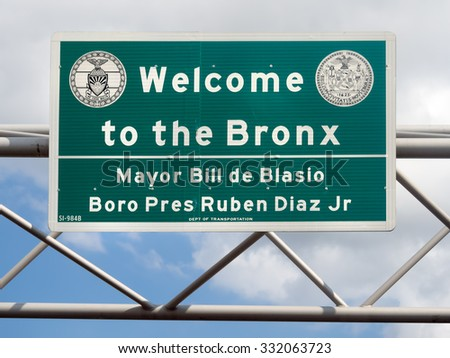 Welcome to the Bronx street sign in New York City - stock photo