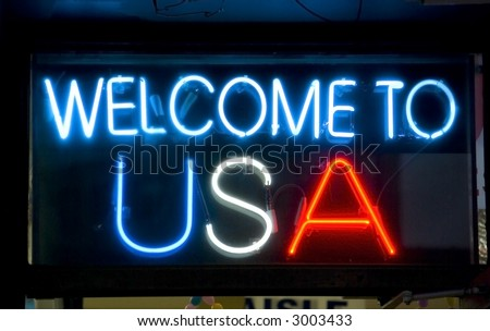 Welcome to USA neon sign - stock photo
