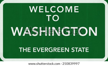 Welcome to  Washington USA Road Sign - stock photo