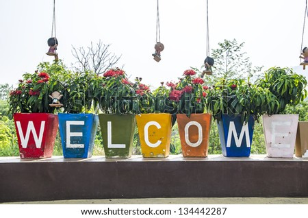 Welcome word - stock photo