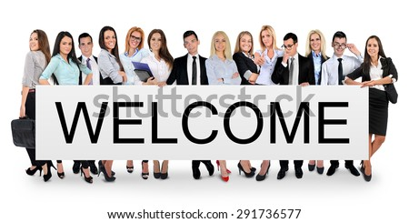Welcome word writing on white banner - stock photo