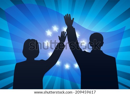 welcoming people against the European Union flag - stock photo
