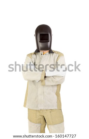 Welder in mask with mittens. Isolated on a white background. - stock photo