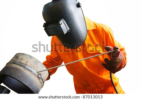 welder on action with isolated white background - stock photo
