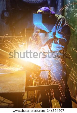 Welder on work - stock photo