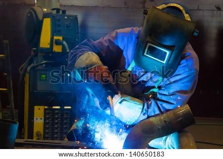 Welder weld metal, Welder, photography - stock photo