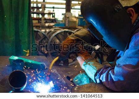 Welder weld metal , Welder, photography - stock photo