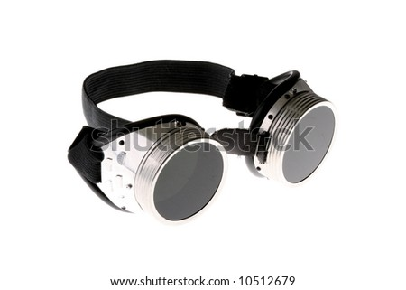 Welding glasses isolated over white - stock photo