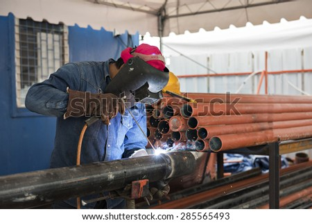 Welding iron collage ,the steel part by manual - stock photo