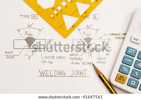 Welding Joint details - many uses in the oil and gas industry. - stock photo